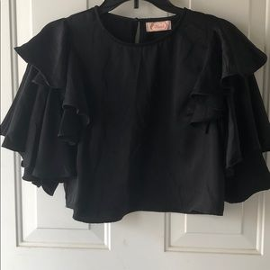 Blush Black top with ruffled sleeves
